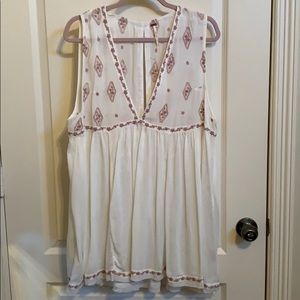 NWT Free People Cream Embroidered Babydoll Top SzL